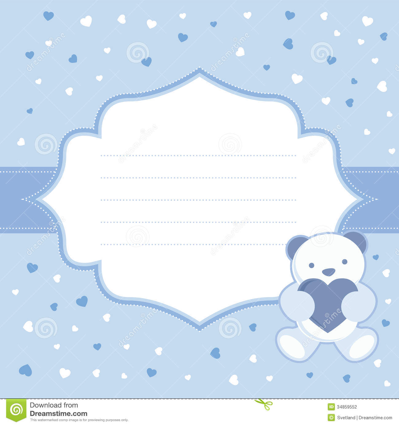 Blue Greeting Card With Teddy Bear For Baby Boy B Stock Vector