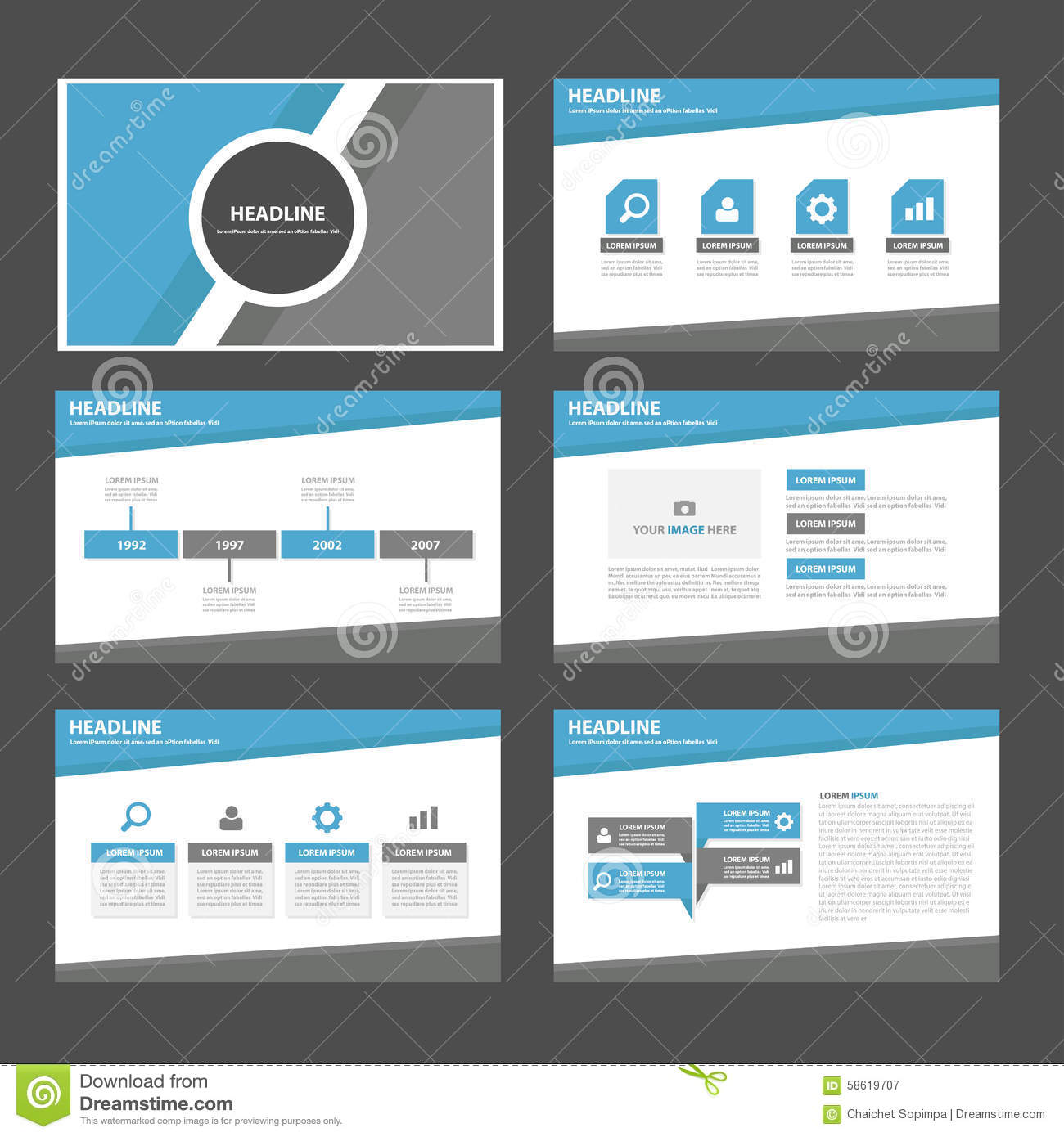 Blue And Grey Multipurpose Infographic Presentation Brochure Flyer - Brochure website templates