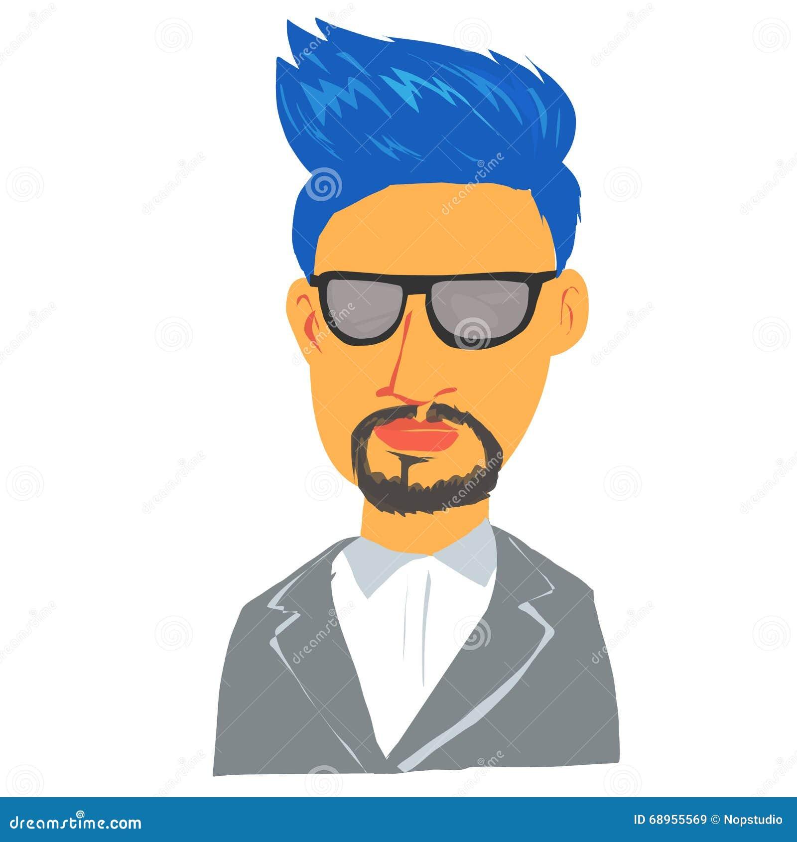 Cartoon Characters With Blue Hair : Blue hair man cartoon character stock vector image