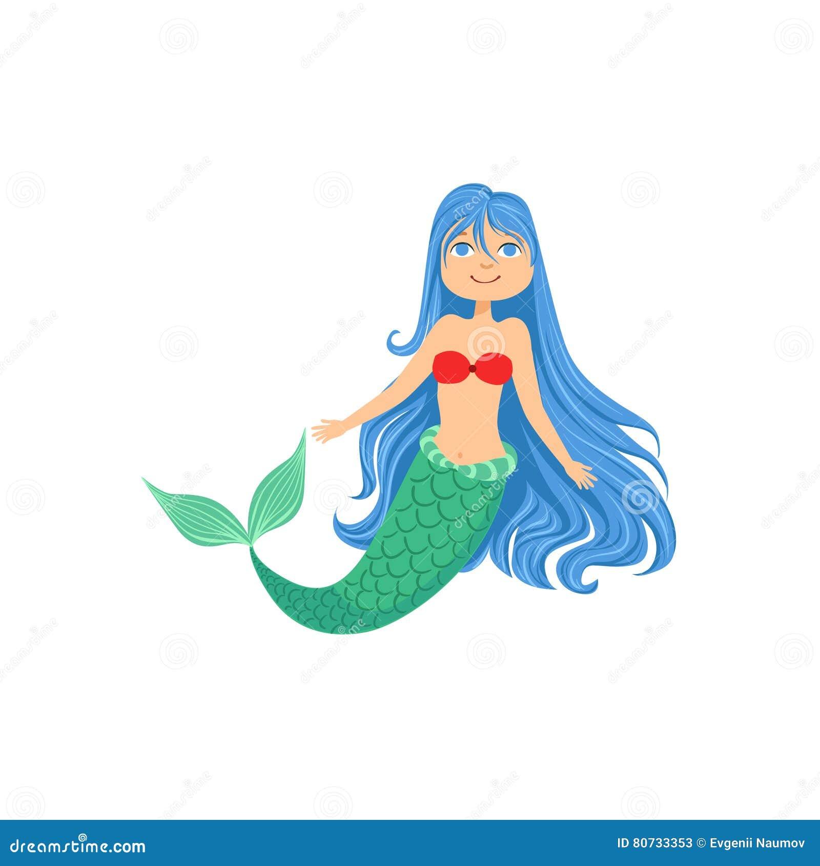 Blue Hair Mermaid In Red Swimsuit Top Bra Fairy-Tale