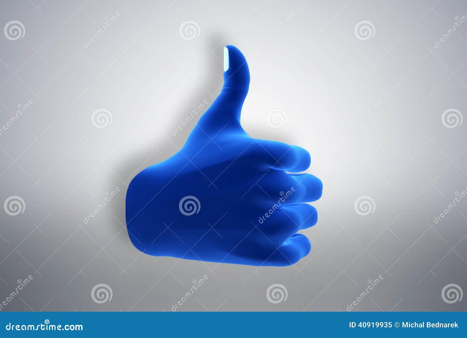 Blue hand gesture showing OK, like, agree.
