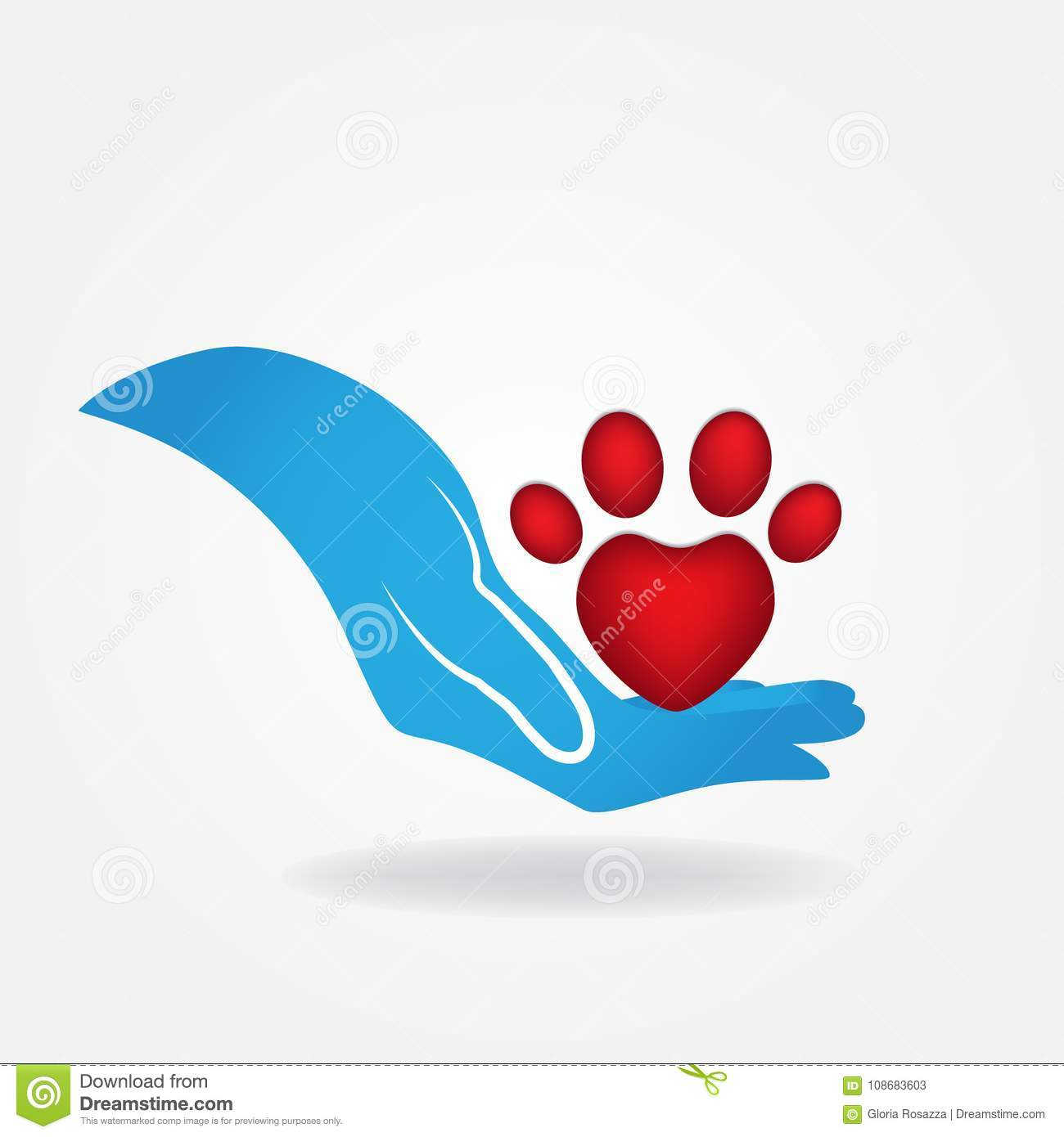 Paw Print Of A Pet Red Love Heart Shape Icon Logo