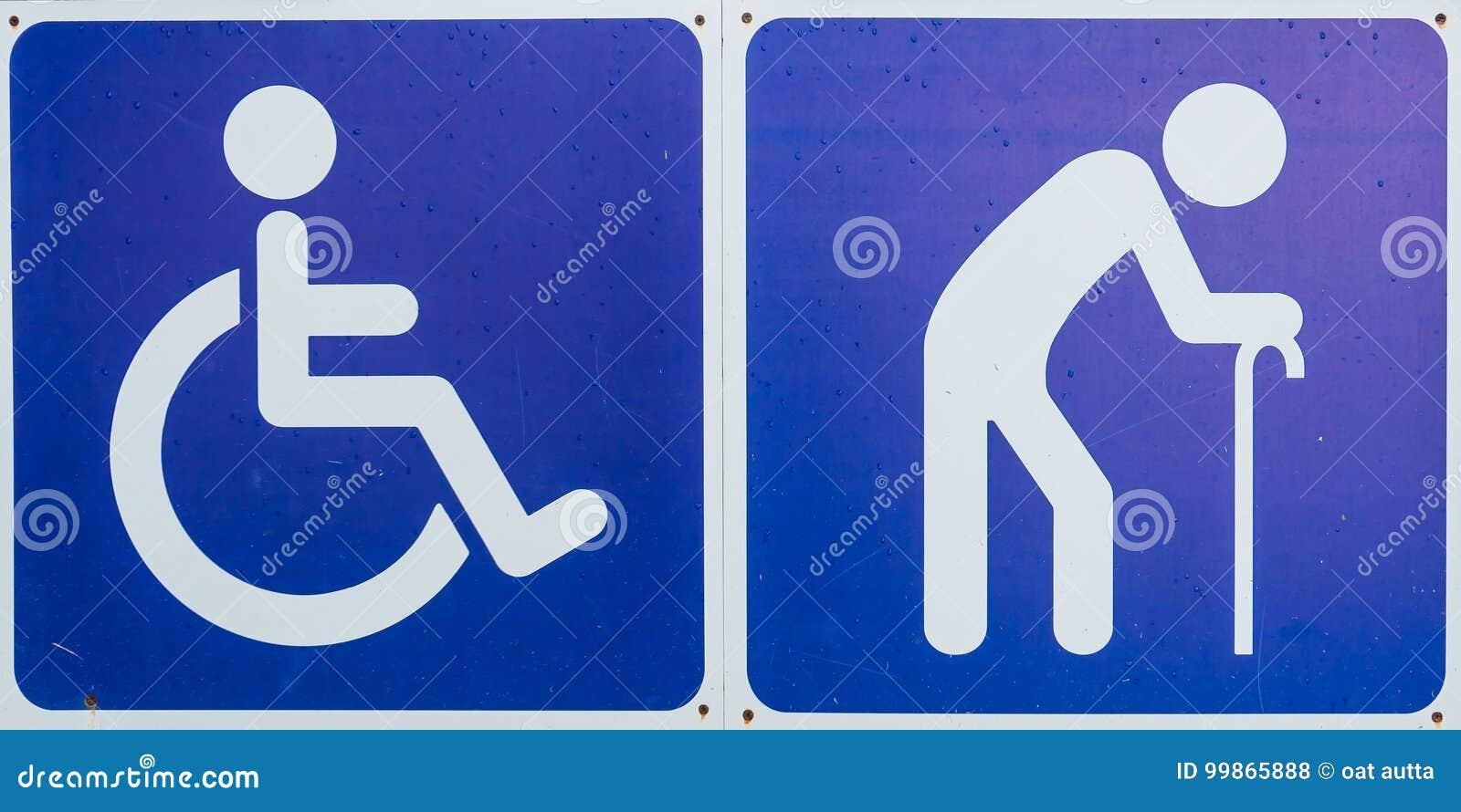 Blue Handicap symbol ,Disabled sign and Elder sign