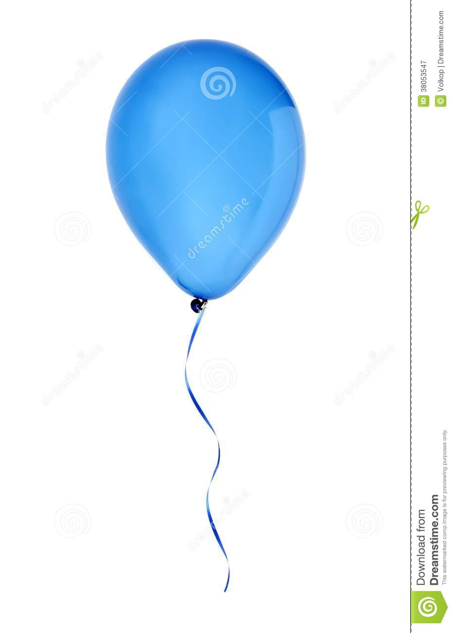 Blue happy air flying balloon isolated on white