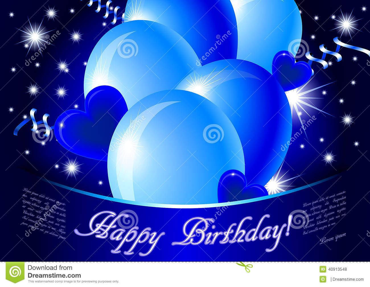 Blue Happy Birthday Card Stock Illustration Image 40913548
