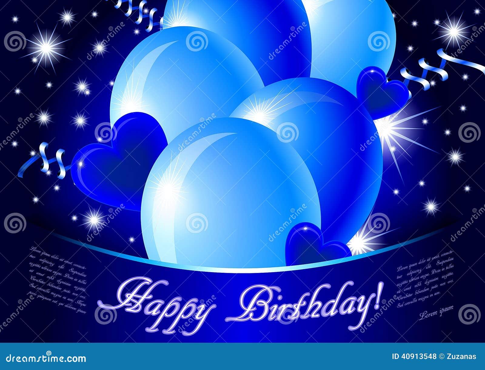 Blue Happy Birthday Card Stock Illustration Image 40913548