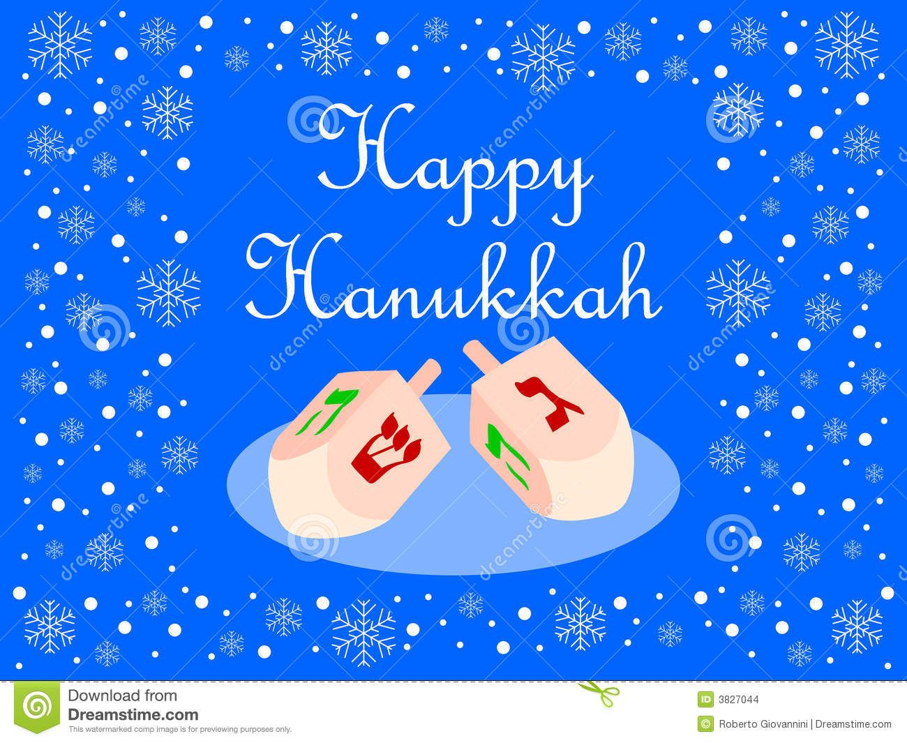 Blue Happy Hanukkah Card Stock Illustration Illustration Of