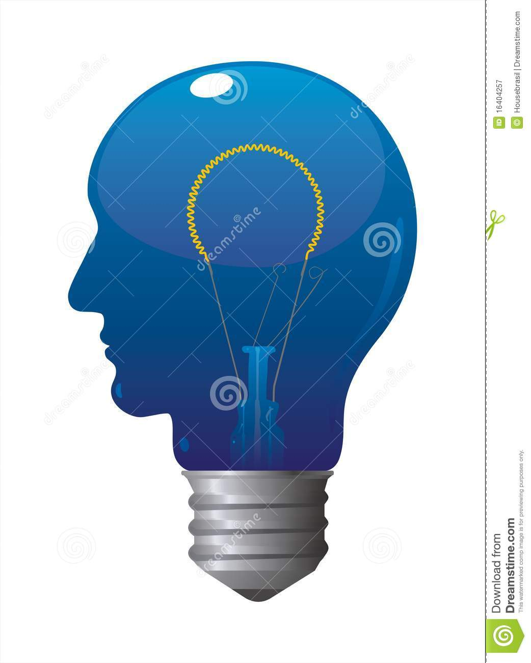 Download Blue Head Bulb Turned On stock vector. Illustration of electric - 16404257