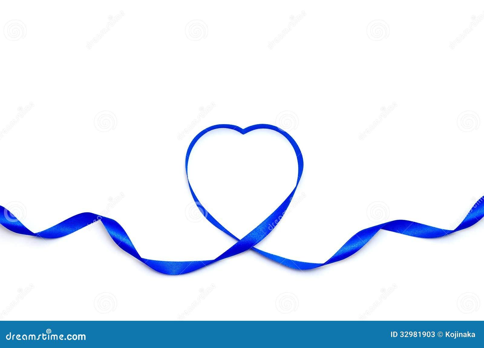 Blue Heart Ribbon Stock Photos - Image: 32981903