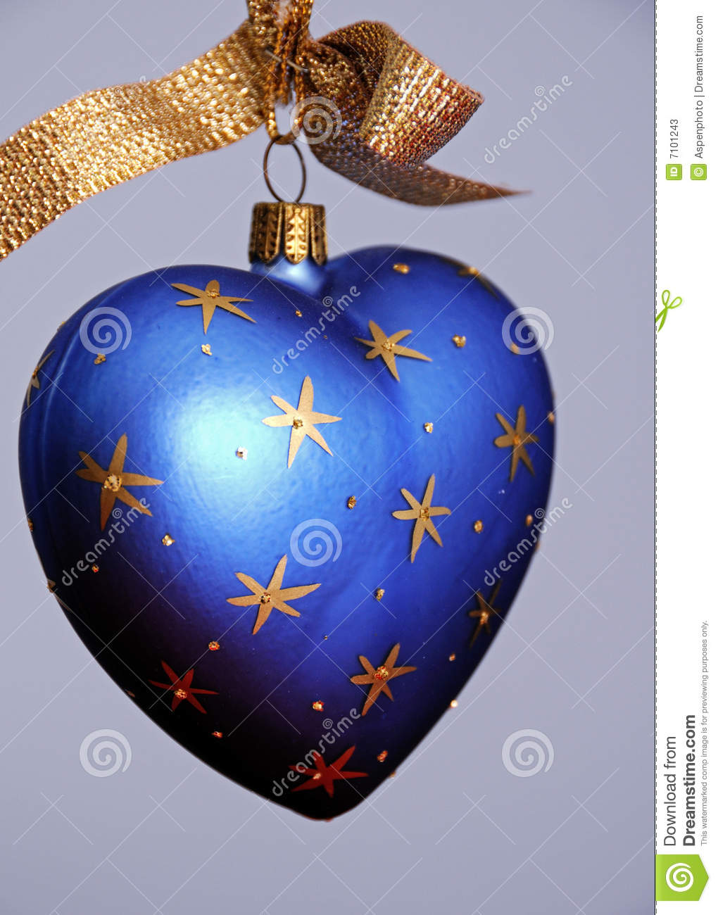 Blue Heart Shaped Christmas Tree Ornament Stock Image