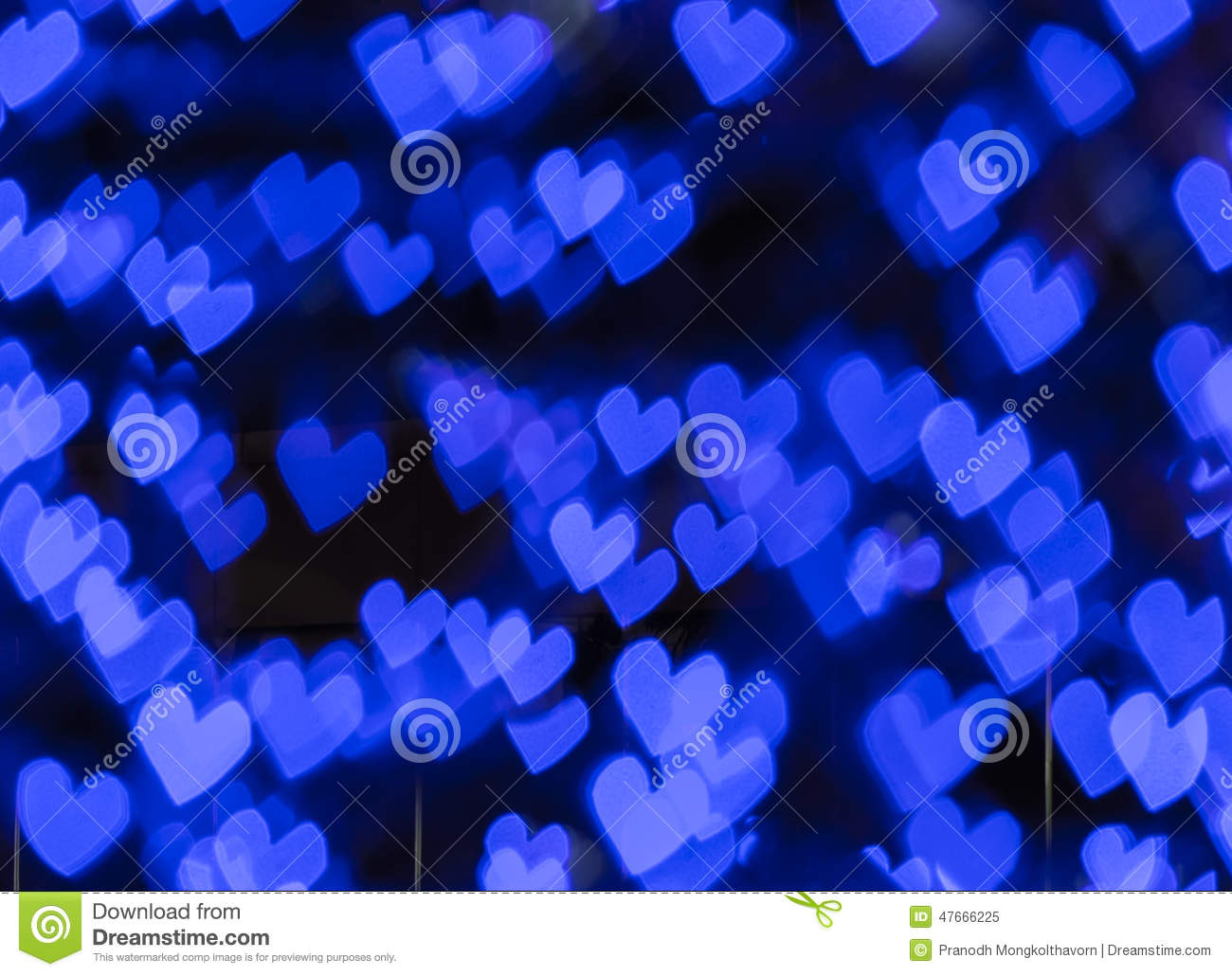 Blue hearts bokeh background abstract stock photo