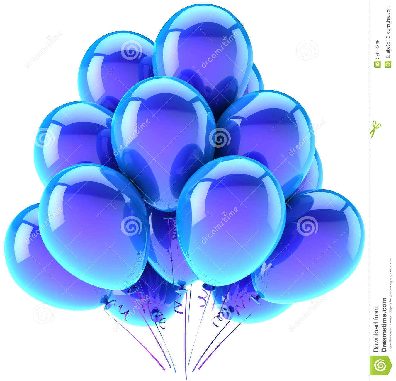 Blue Helium Balloons Party Decoration
