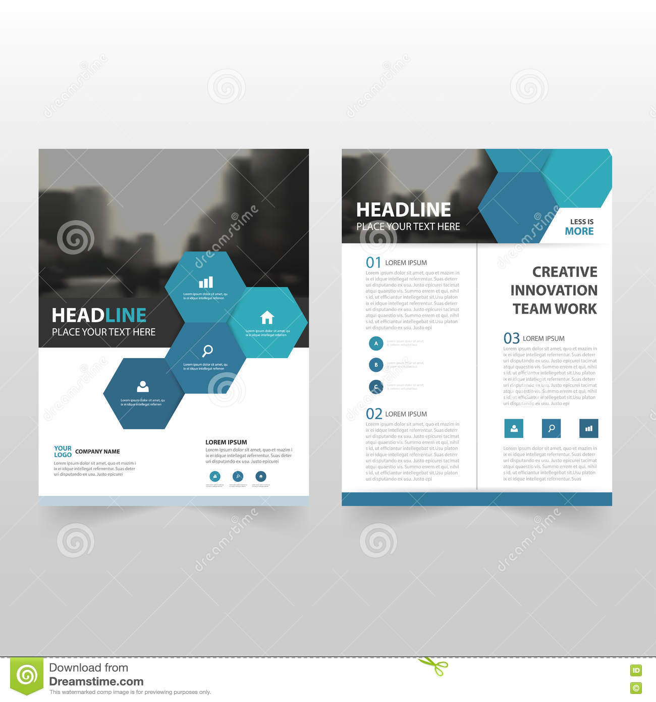 blue hexagon vector annual report leaflet brochure flyer template