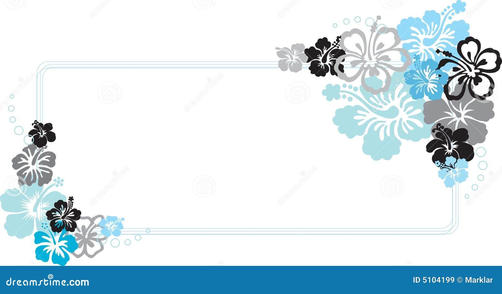 Blue Hibiscus Flower Frame Vector Illustration Stock Vector ...