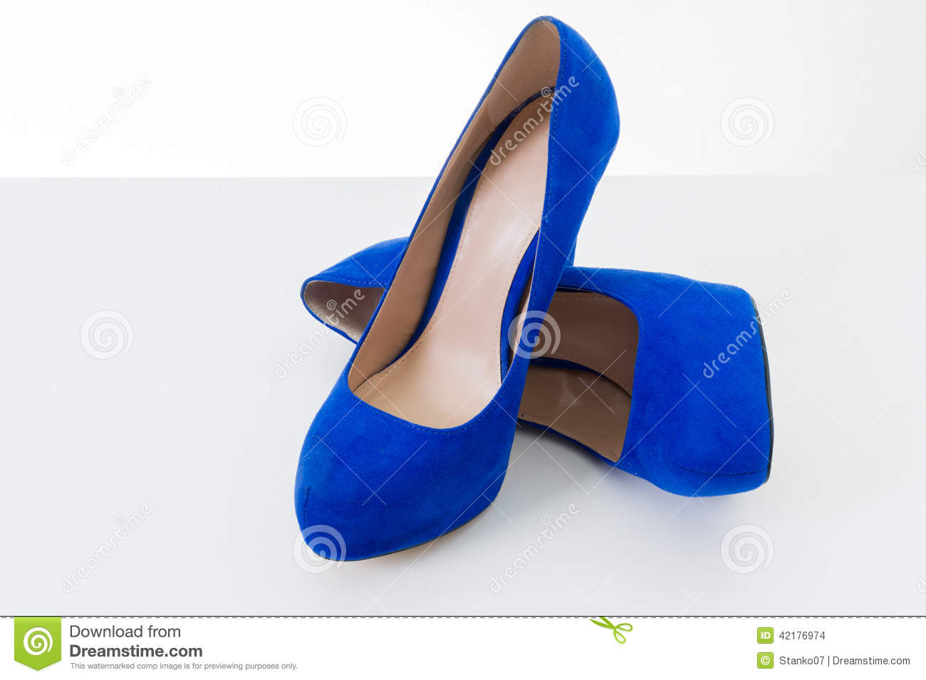 blue high heel shoes royalty free stock image
