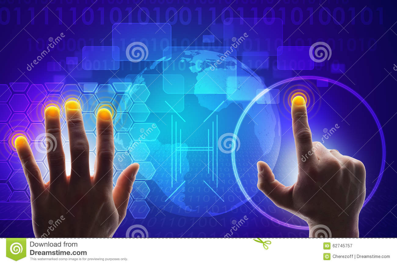 World Map On Hands.Blue Holographic Screen With Map And Hands Stock Image Image Of