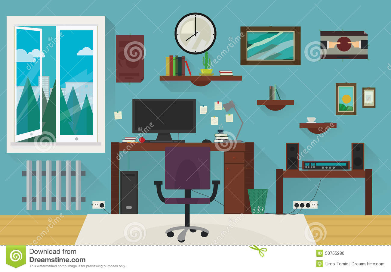 Blue Home Work Room Stock Photo