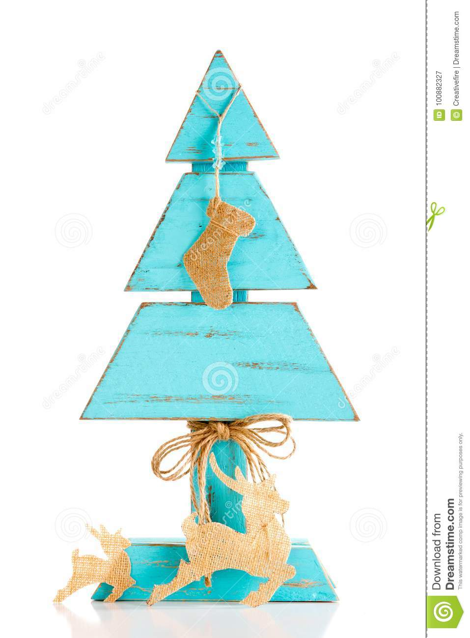 Blue Homemade Wooden Christmas Tree With Burlap Christmas Stocking Decoration White Background Stock Image Image Of Colored Ornament 100882327