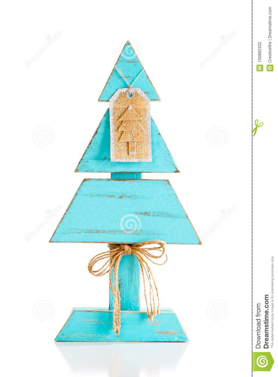 Blue Homemade Wooden Christmas Tree With Burlap Gift Label Decor ...