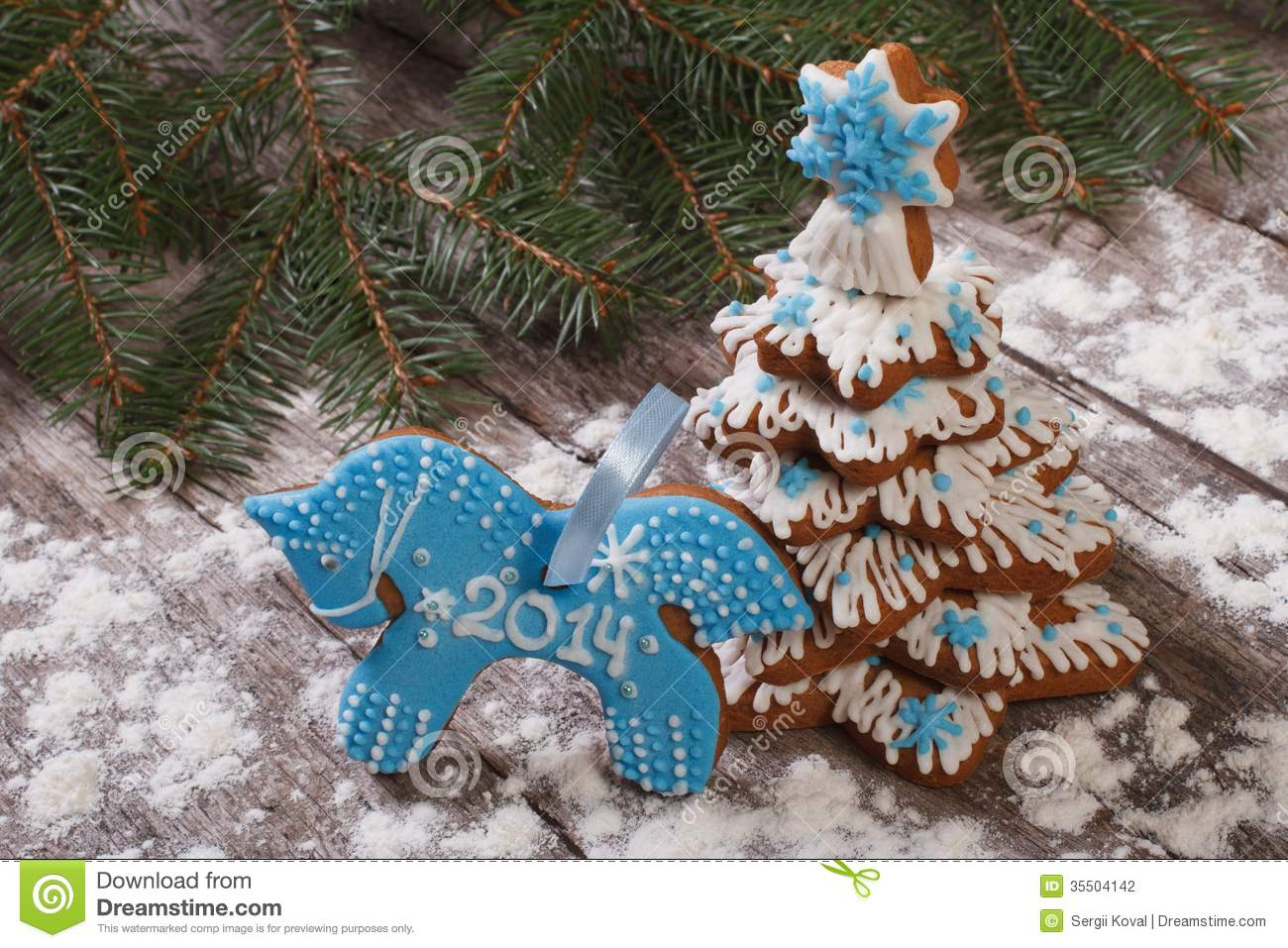 Blue Horse Cookies And Christmas Tree Stock Photo Image Of Bakery Baked 35504142