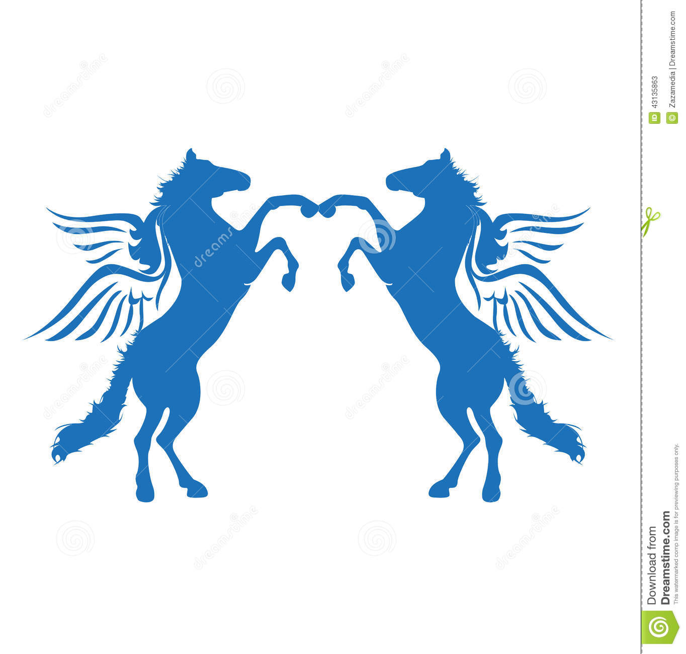 Gradient Abstract Logo Template: Blue Horse Wings Logo Icon Stock Vector. Illustration Of