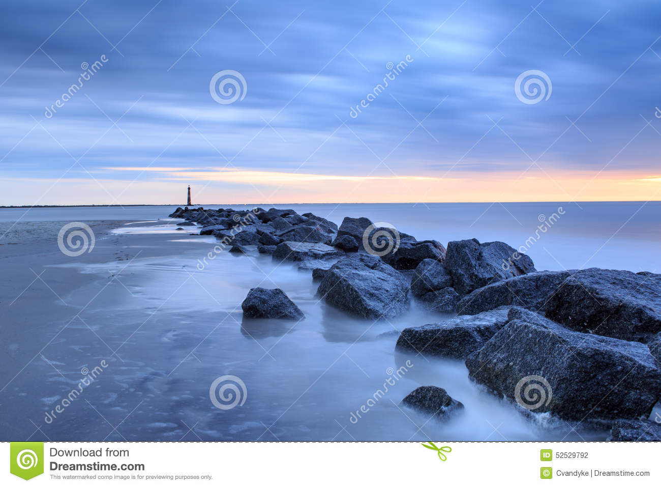 Blue hour coastal landscape folly beach sc stock photo for Landscaping rocks charleston sc