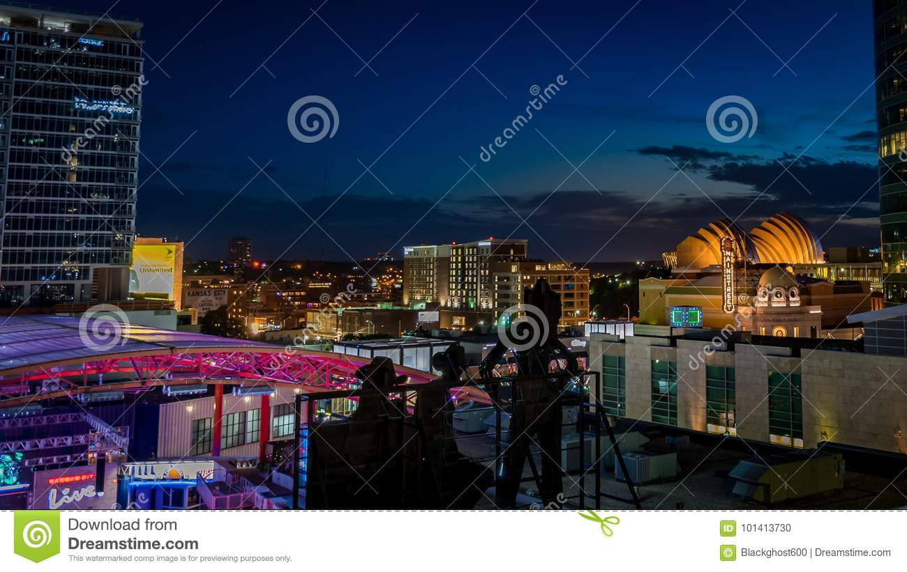 Night Time View Of City Lights In Kansas City Shows The Power And Light  District, Kansas City Live, And The Kauffman Center In Missouri