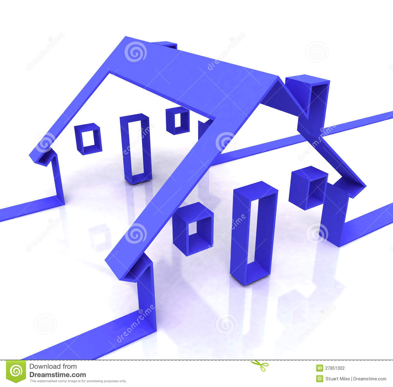 House For Rent Clip Art: Blue House Symbol Shows Real Estate Or Rentals Stock