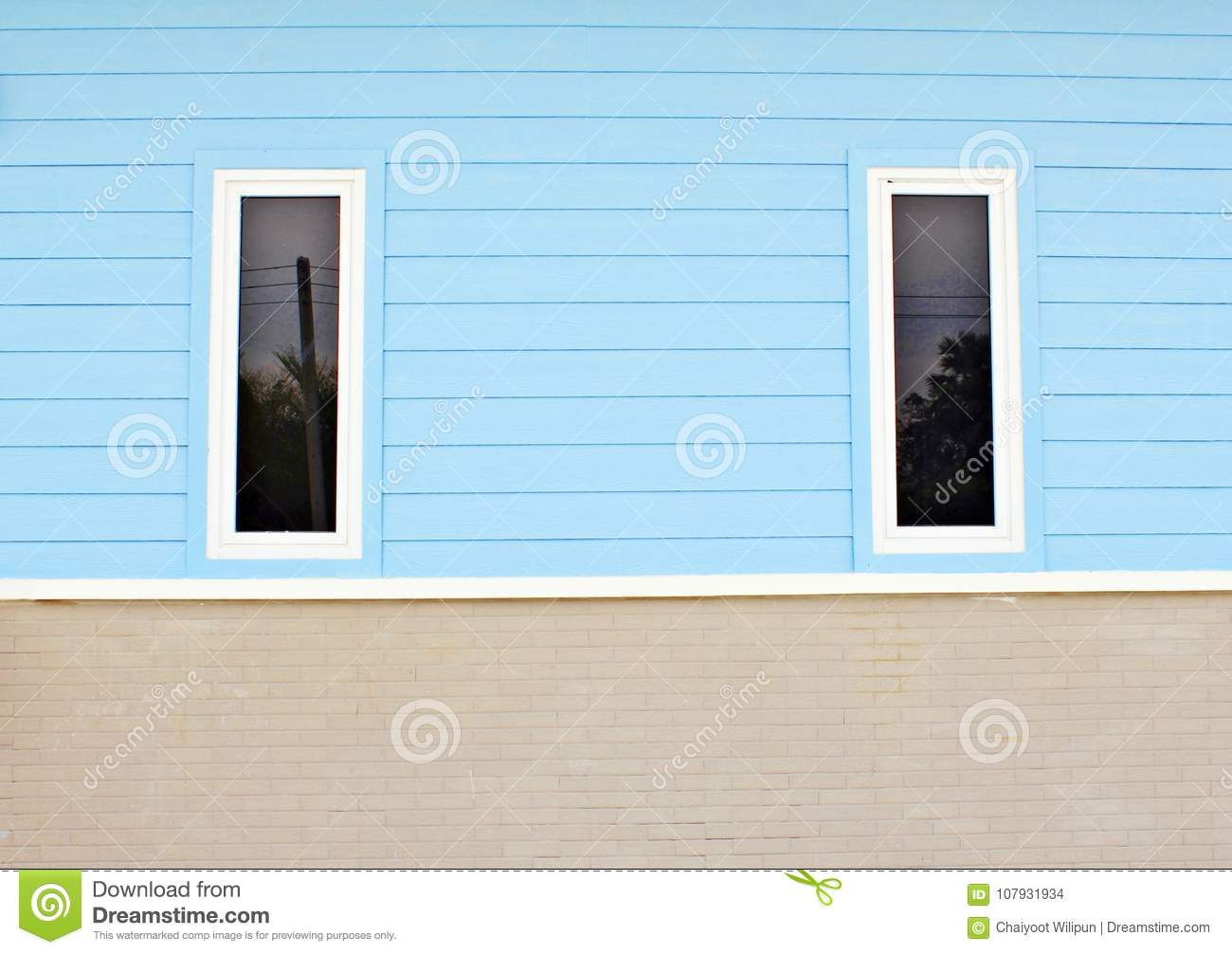 Blue House White Window Colorful Tile Waterfront House Stock Photo