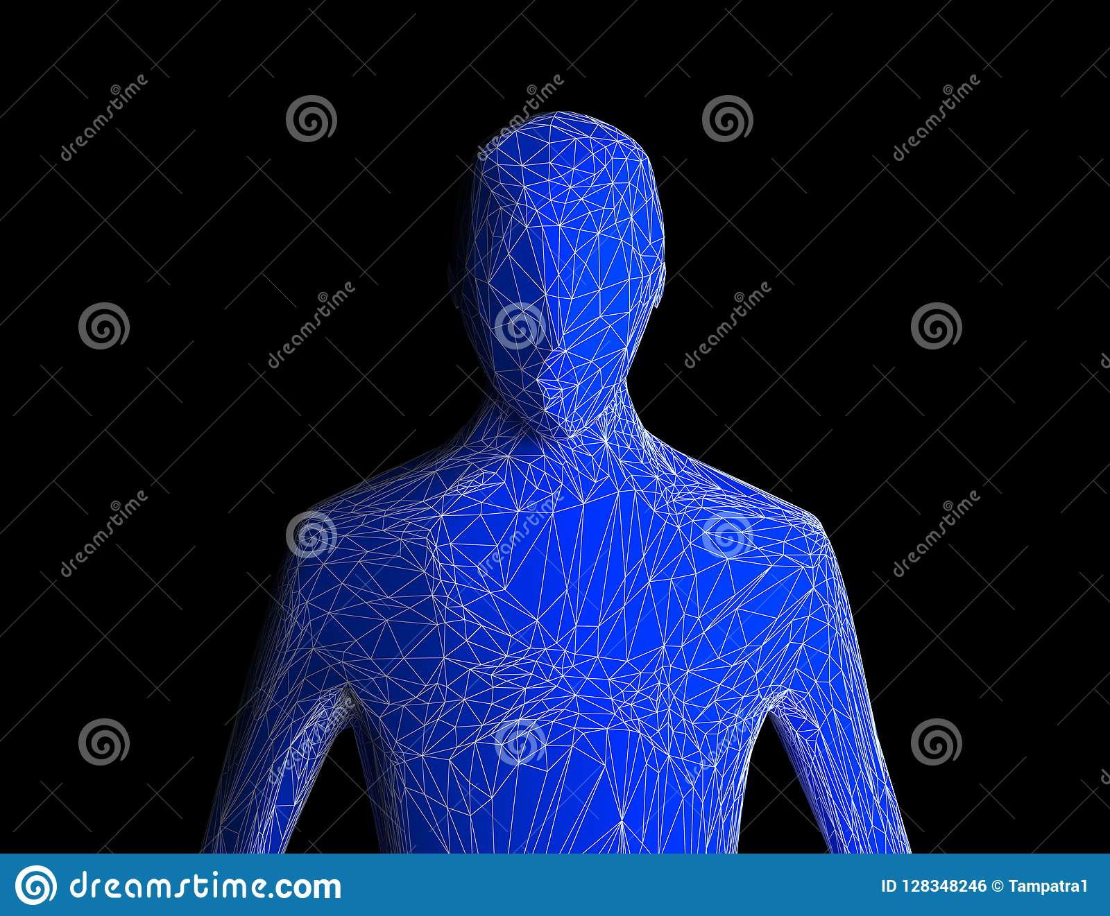 Blue human body isolated on black background. Artificial intelligence high-tech in digital computer technology concept.