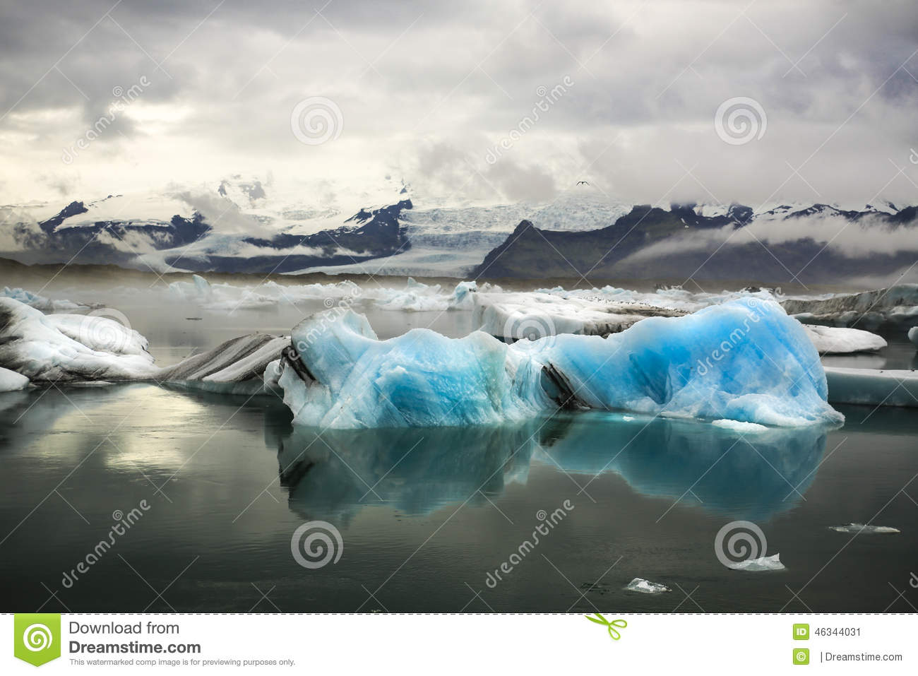 Blue Iceberg With Glacier And Mountains Stock Image ...