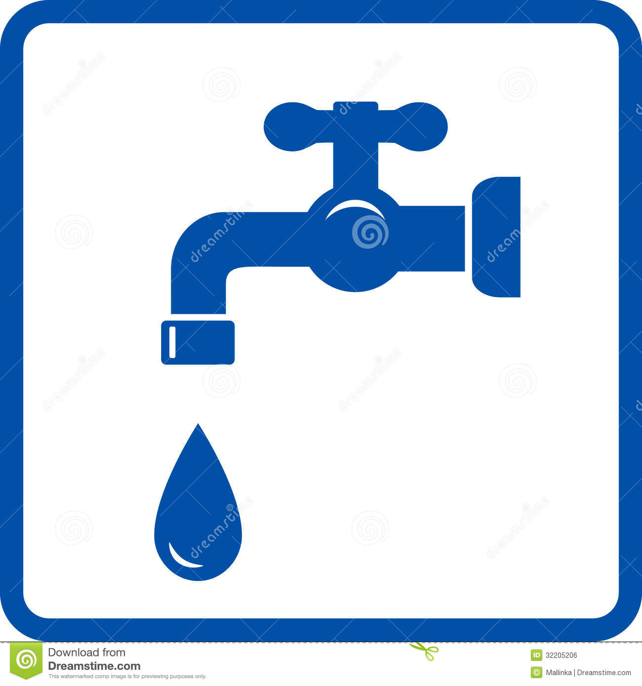 Blue Icon With Faucet And Tap Royalty Free Stock Image