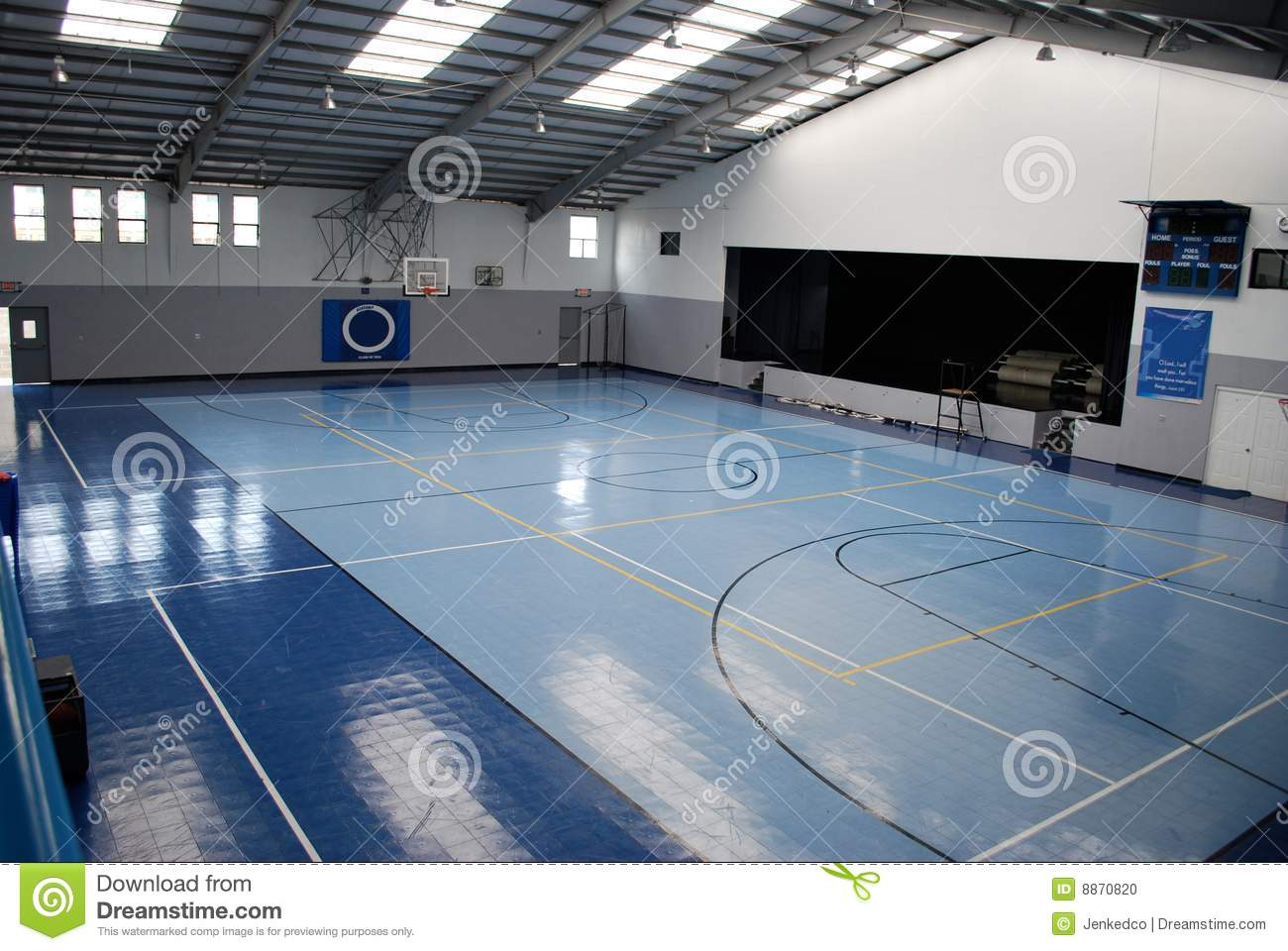 Blue Indoor Gymnasium Stock Photo Image Of Ball Sports