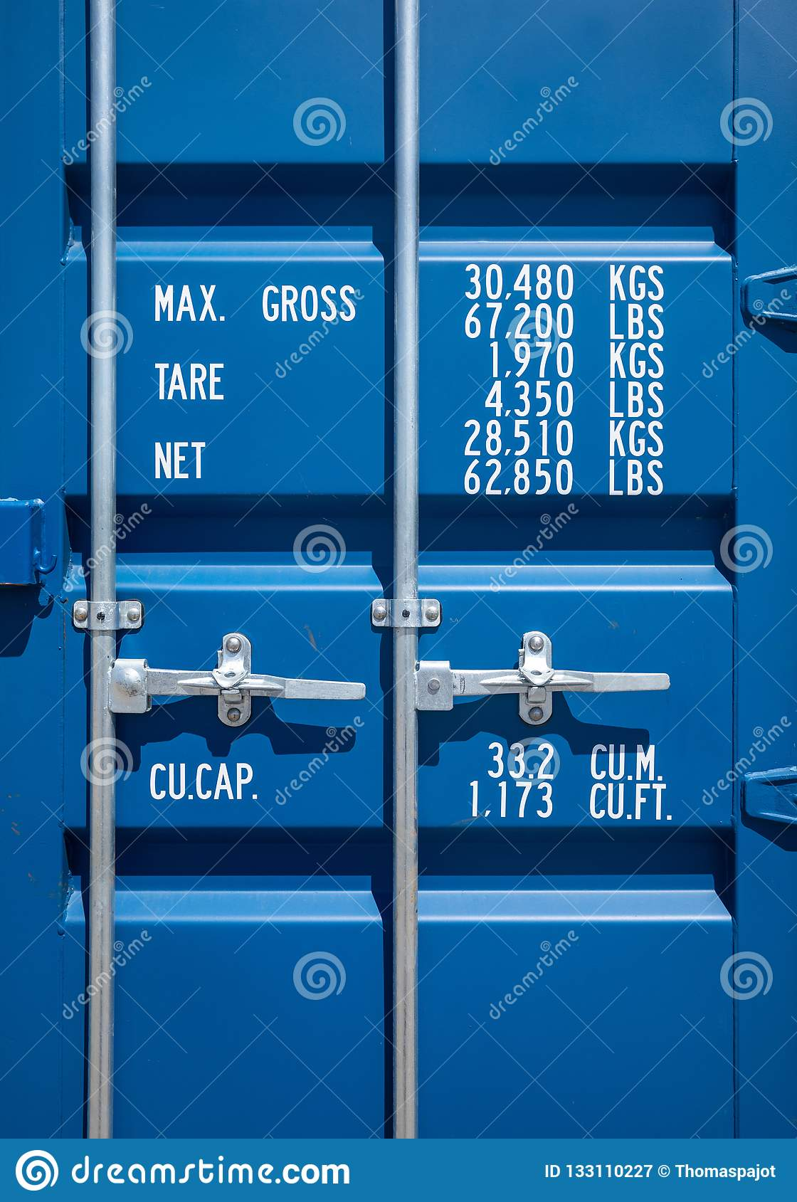 Blue Industrial Shipping Container Door Stock Image - Image of blue