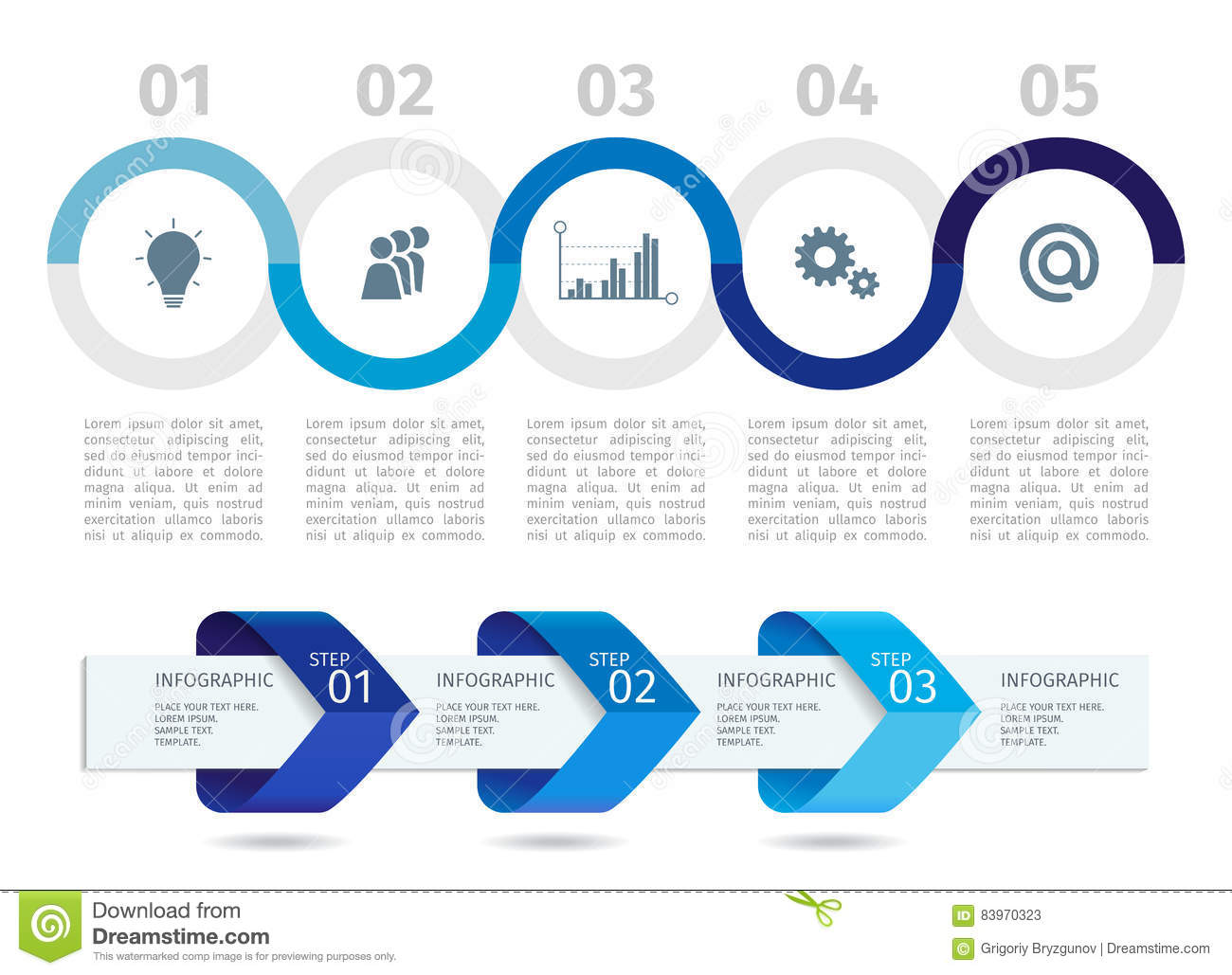 blue infographic process chart and arrows with step up options