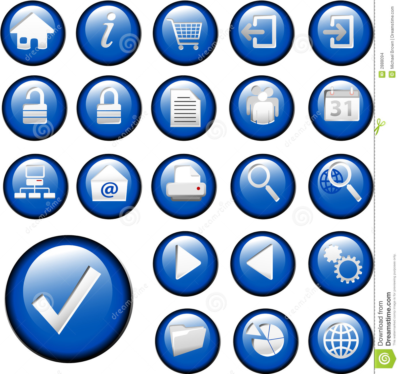 Blue Inset Button Icons set collection