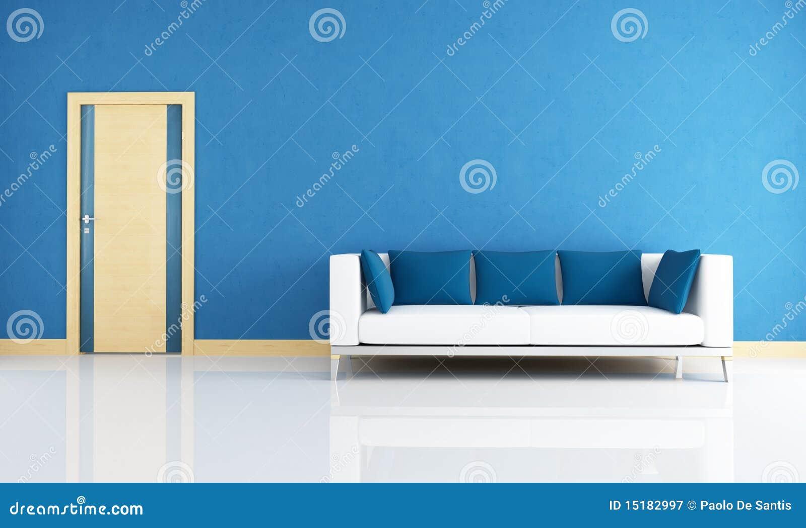 Blue interior with wooden door