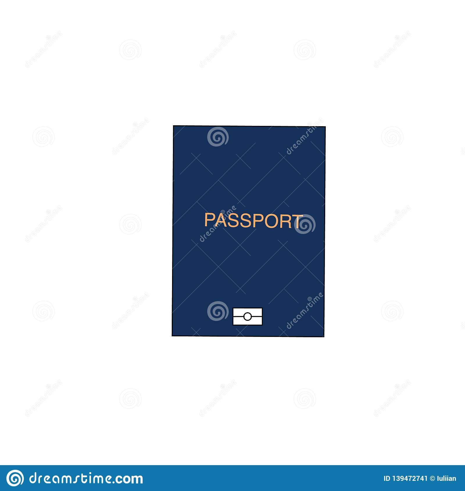 Blue international document passport, travel concept, flat design vector