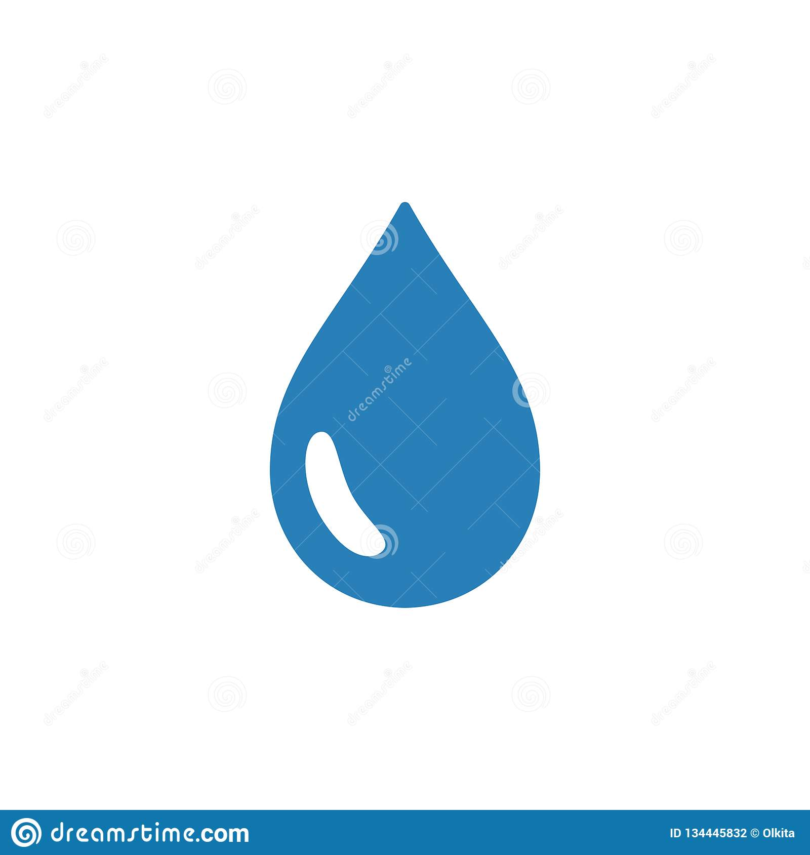 Blue isolated icon of drop of water on white background. Silhouette of aqua drop. Flat design