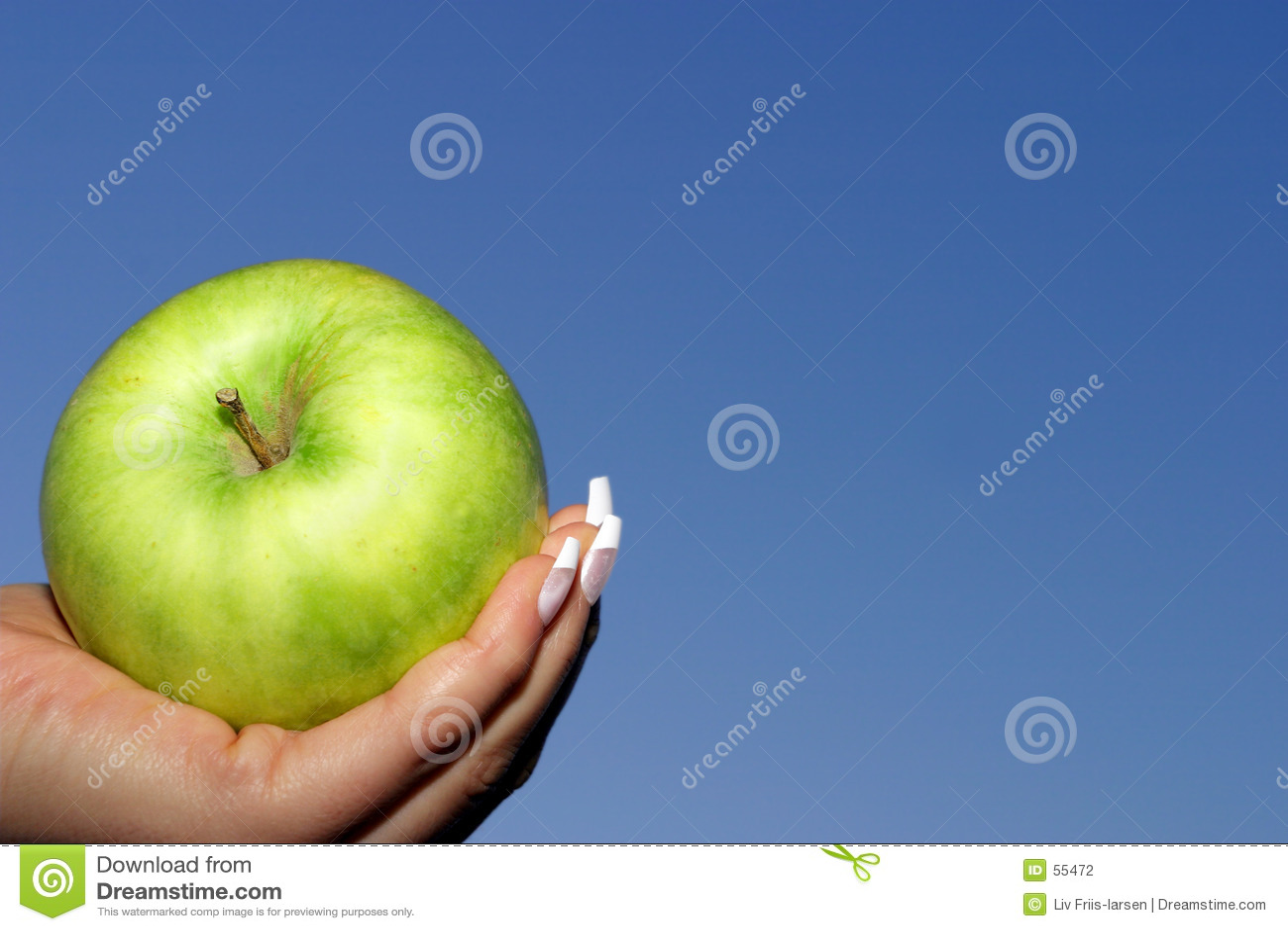 Blue jabłkowy zielone niebo