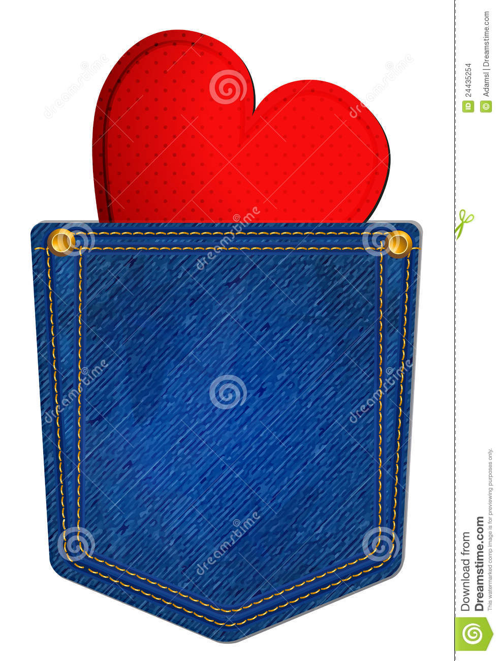 Blue Jean Pocket With Heart Stock Images Image 24435254