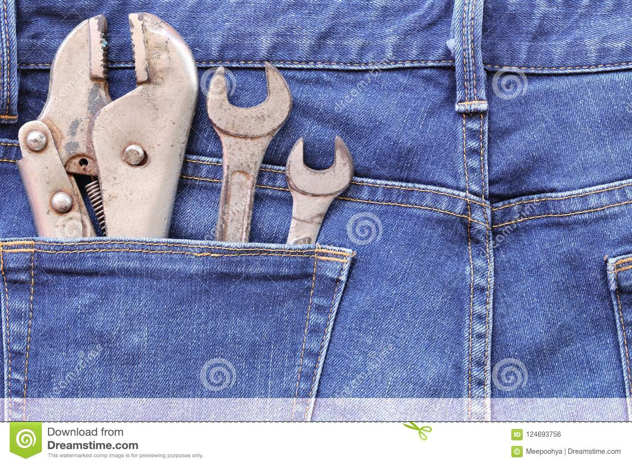 Blue Jeans Of Back Pocket And Have Old Wrench Tool With Rust Stock Photo Image Of Carpenter Construction 124693756