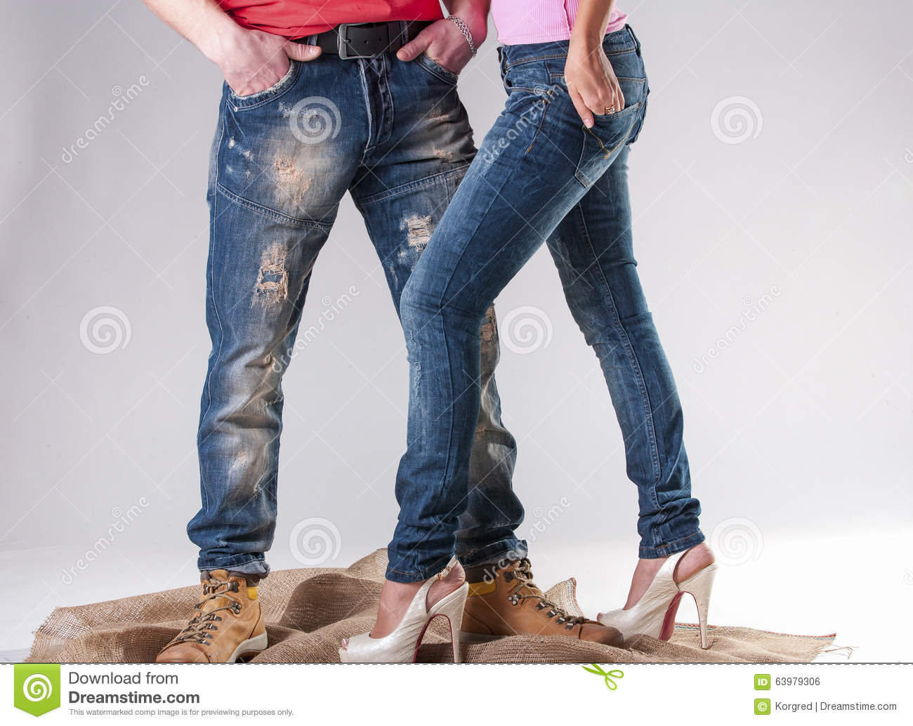 Blue Jeans For Men And Women Stock Photo - Image: 63979306
