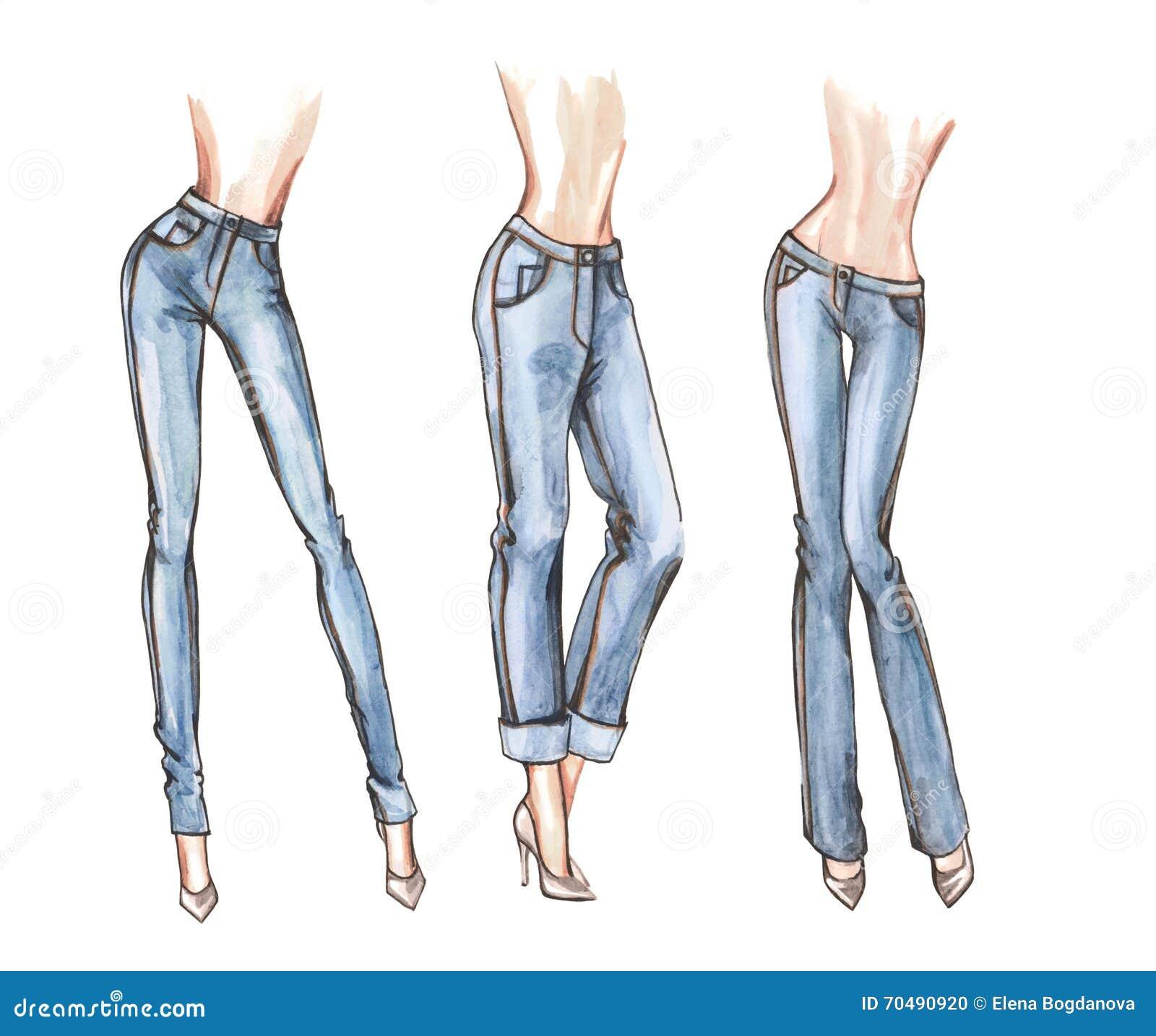 Blue Jeans Watercolor Illustration Stock Illustration - Illustration Of Heels Shoes 70490920