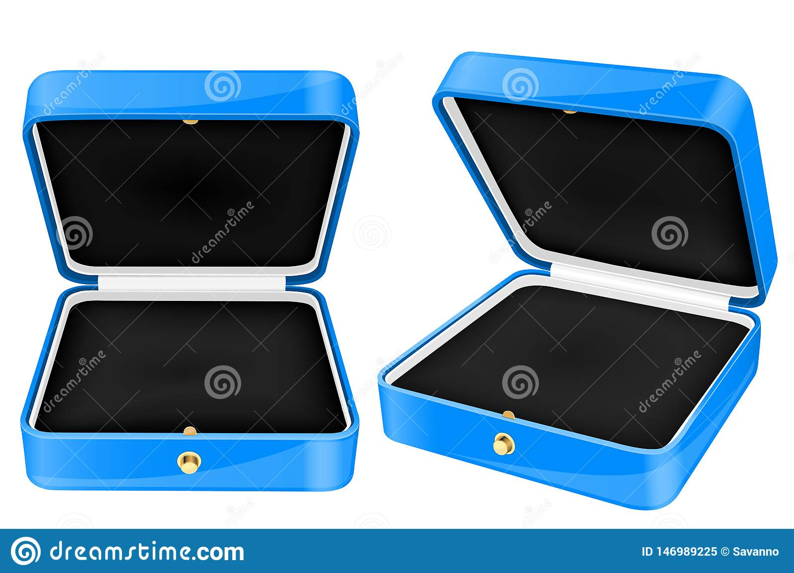 Blue Jewelry Boxes. Open Empty Boxes Stock Vector ...