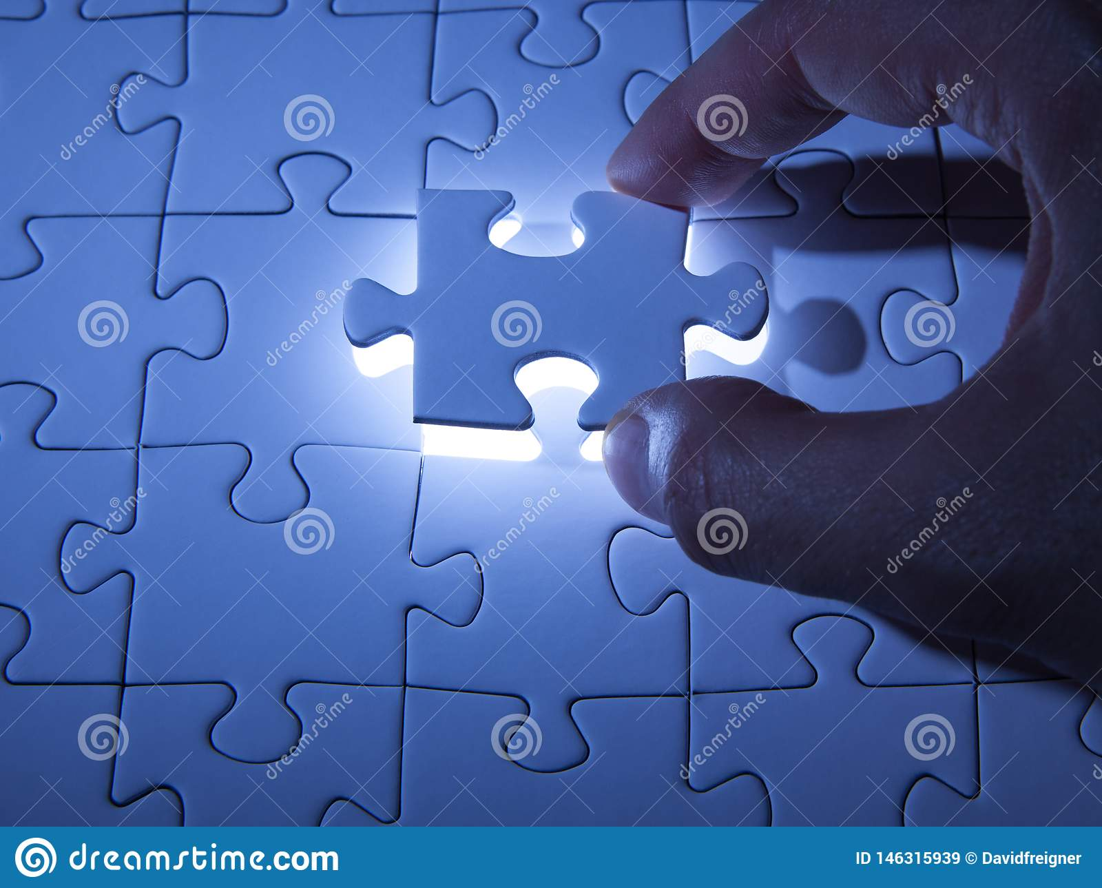Blue Jigsaw Puzzle. Business Solutions, Solving Problems ...