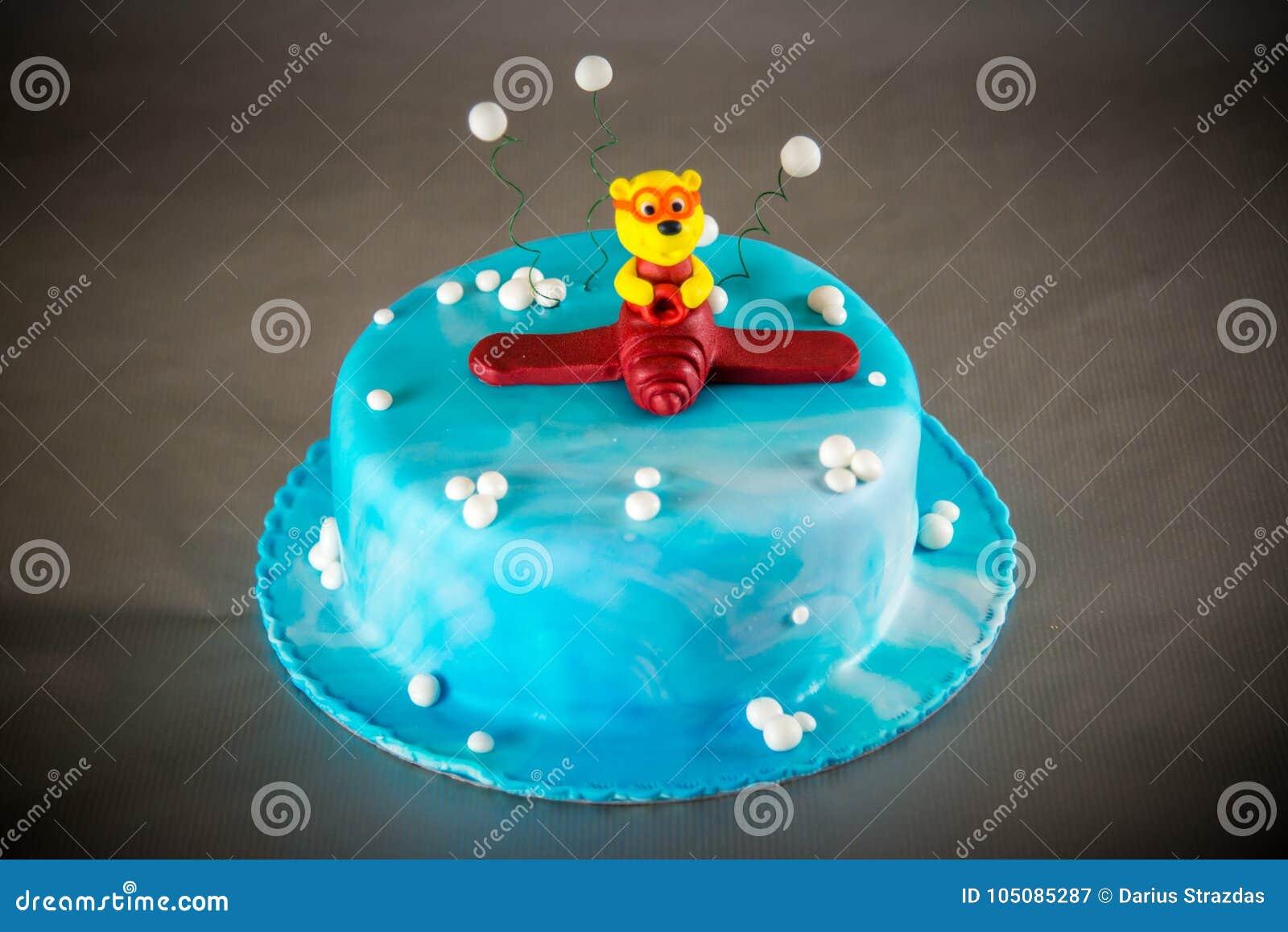 Blue Kids Birthday Cake Stock Image Image Of Gift Decoration