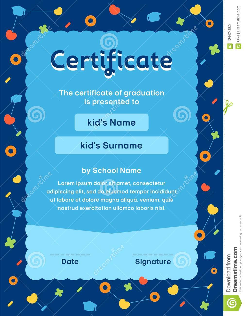 blue kids certificate in cosmos style template design stock vector