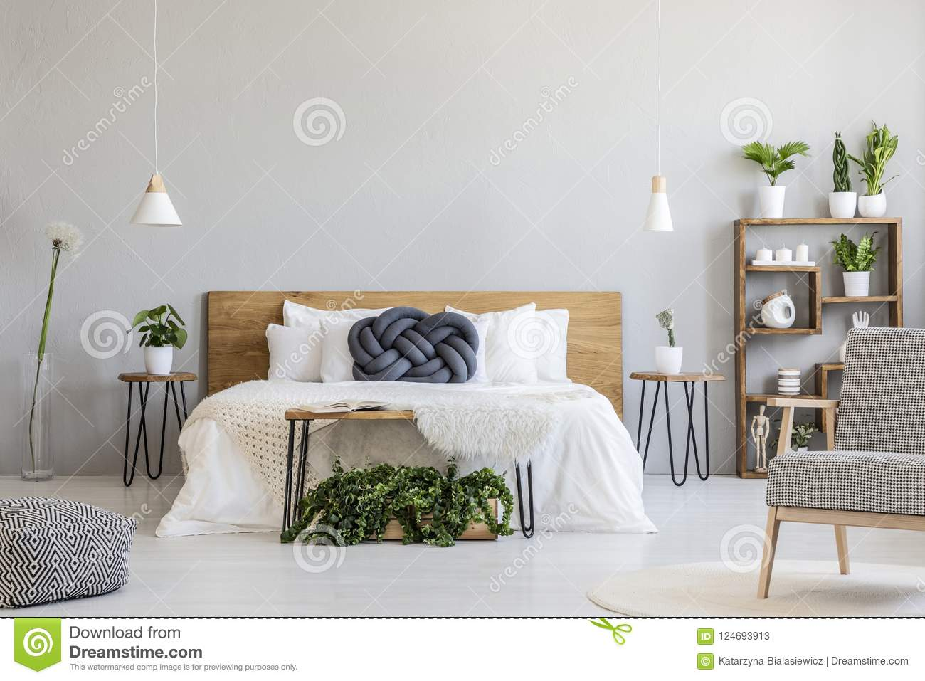 Blue Knot Pillow On White Wooden Bed In Grey Bedroom Interior Wi Stock Image Image Of Bright Home 124693913