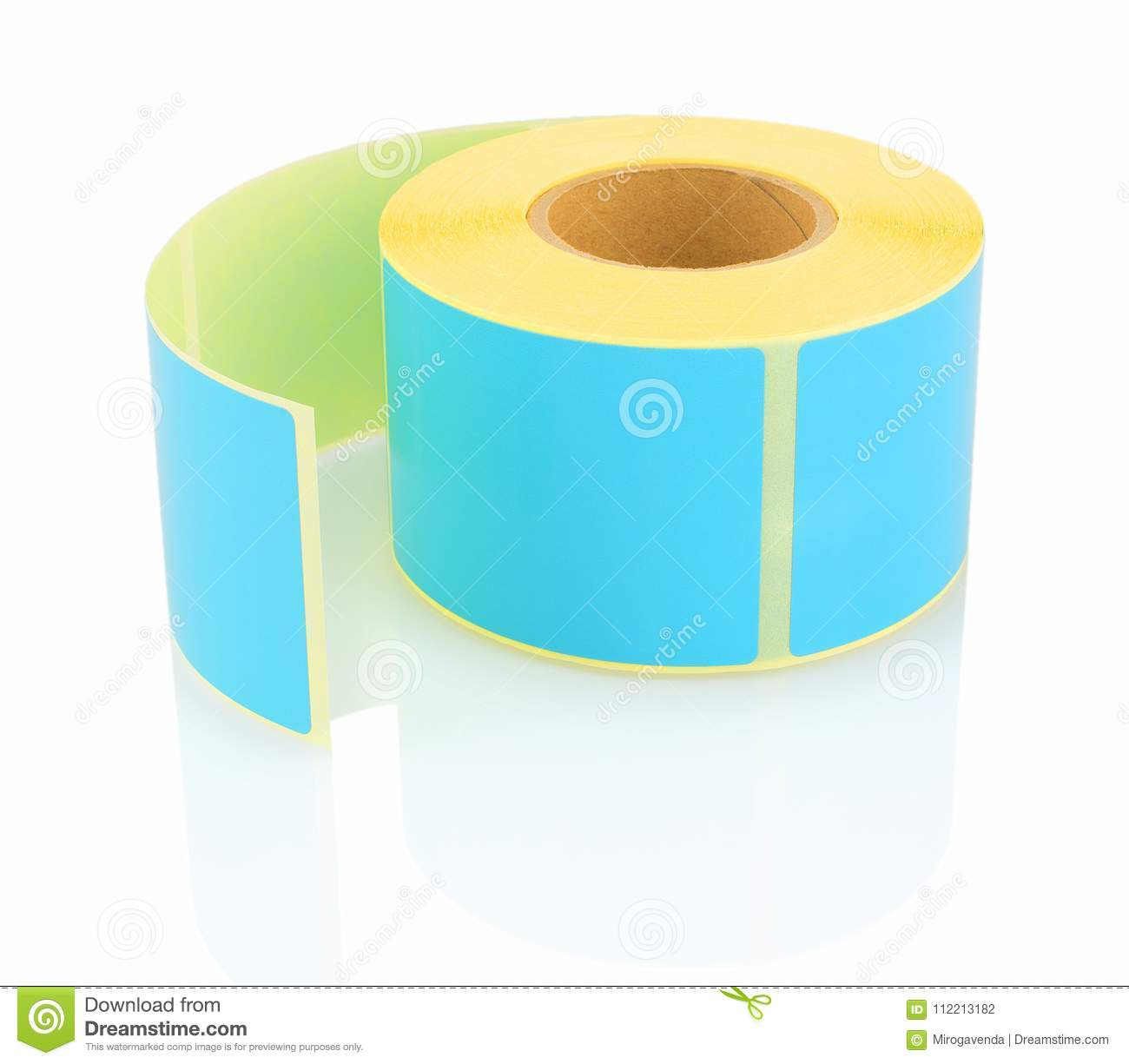 Blue Label Roll On White Background With Shadow Reflection Color Reel Of Labels For Printers Direct Thermal Or Transfer Printing